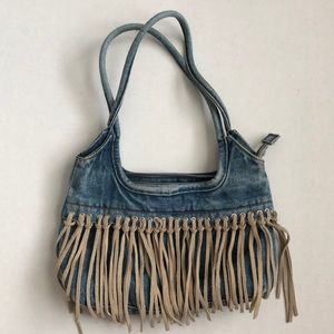 Denim Purse with leather design - Used